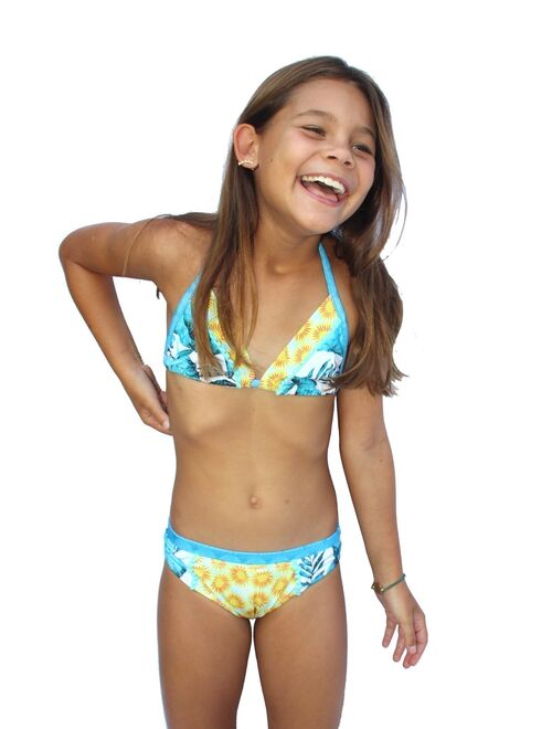 Azul Girls Turquoise Endless Summer Triangle 2 Pc Bikini Swimsuit