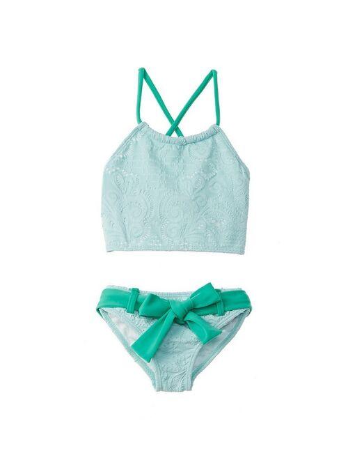 Azul Little Girls Aqua Breakfast At Tiffany's High Top Bikini 2 Pc Swimsuit