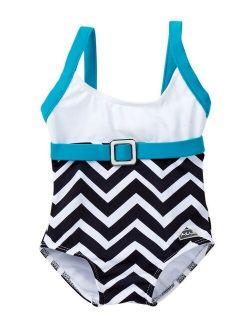Little Girls Blue White Chevron Jagged Edge One Piece Swimsuit