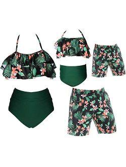 Family Matching Swimsuits Leaves Leopard Print Bathing Suit Tankini Bikini Set Swimwear