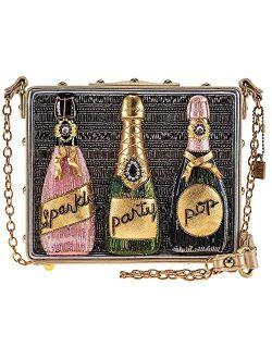 Mary Frances Sparkling Beaded Crossbody Champagne Handbag