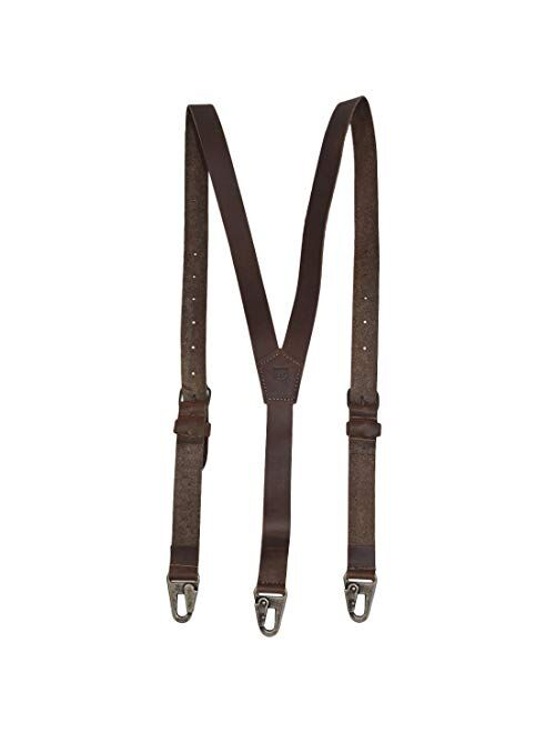 Hide & Drink, Rustic Leather Y Suspenders, Wedding & Party Essentials, Easy Fit With 8 Adjustable Holes (Large 5 ft 10 in. to 6 ft 4 in.), Handmade Includes 101 Year Warr