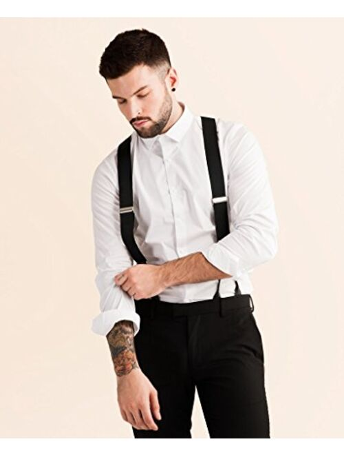 JJ SUSPENDERS Tuxedo Suspenders for Men with Leather Detailing & Interchangeable Clips