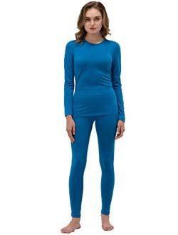 Women's 100% Merino Wool Thermal Underwear Long John Set Base Layer Top and Bottom Warm Winter