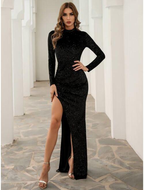 Shein Missord Mock Neck Split Thigh Glitter Prom Dress
