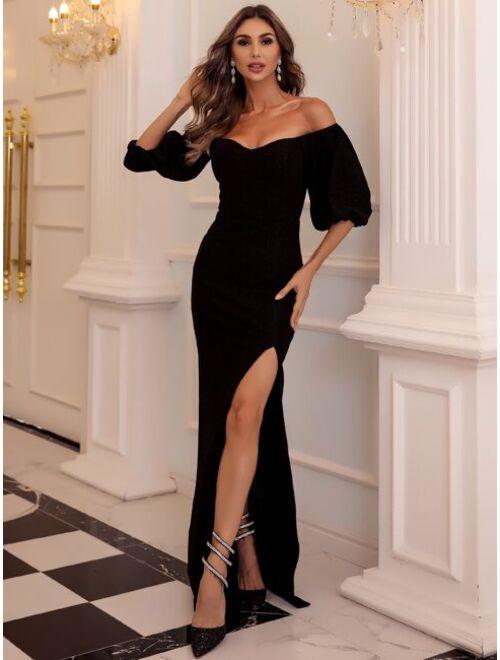 Shein Missord Off Shoulder Lantern Sleeve Split Thigh Prom Dress