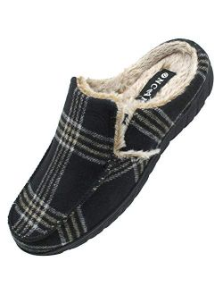 ONCAI Men's-Memory-Foam-House-Slippers-Winter-Clog-Slipper Comfort Soft Cotton-Blend Slip-on Tweed Moccasin Indoor and Outdoor Anti-Skidding Plaid Mules Slippers for Men