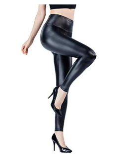 YOUYI Women's Stretchy Thin Faux Leather Leggings, High Waisted Pants