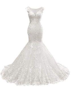 Lace Wedding Dresses Mermaid Long Bridal Gowns Flora Appliques for Bride Vintage Dress