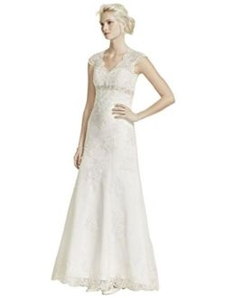 Cap Sleeve Lace Over Satin Wedding Dress Style T3299