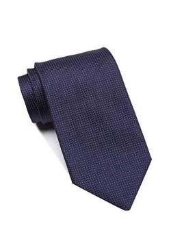 Boss Micro-checked Pattern Italian Silk Tie, Dark Blue 50303860