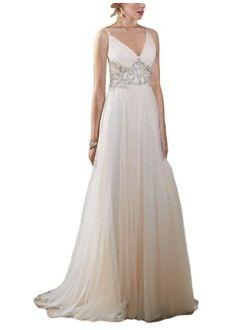 OYISHA Women's Backless A-line Beach Wedding Dresses V-Neck Beaded Gown 50WD