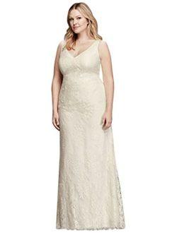 V-neck Plus Size Wedding Dress With Empire Waist Style 9kp3803