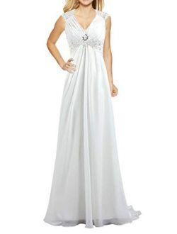 ANTS Women's Cap Sleeve Beaded Chiffon Bridal Gowns Wedding Dresses