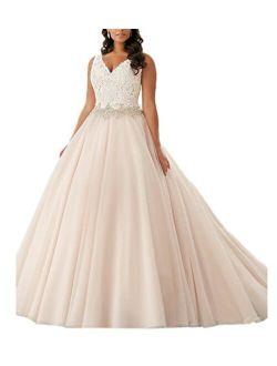 Beauty Bridal Plus Size V Neck Lace Bridal Gown Wedding Dresses(24W,White)