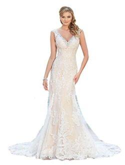 Kelaixiang V Neck Lace Sheath Beading Wedding Dresses Bridal Gown