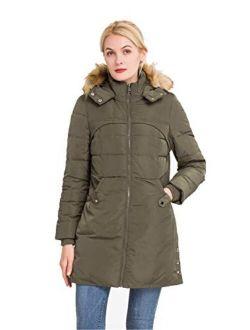 Women's Classic Winter Jacket Soft Thickened Vegan Down Coat Warm Puffer Parka W/faux Fur Hood