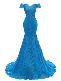 Off The Shoulder Prom Dresses Long Mermaid Sweetheart Beaded Lace Formal Evening Gowns for Women