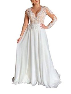 Women's Illusion Long Sleeve Bridal Ball Gown Chiffon Lace Appliques Beach Wedding Dresses For Bride 2021