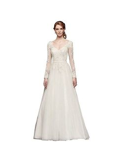Sample: As-is Long Sleeve Wedding Dress with Low Back Style AI10012561