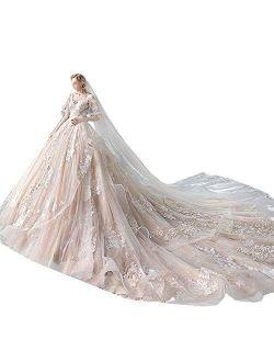 Women's Bridal Wedding Dresses Bride Wedding Dress V Neck Long Sleeve Super Fairy Fantasy Big Tail Ladies Wedding Dress Yarn Beautiful Lace Bridal Gowns (Color : Photo Co