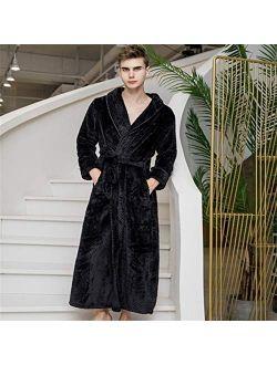 DANGAO Long Flannel Bathrobe Home Wear Clothes Dressing Gown Women's Bathrobe Female Coral Velvet Nightdress Women Warm Bath Robes (Color : Men Orange, Size : Large)