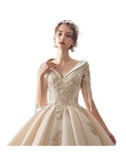 Wedding Dress Ladies One Bride V-neck Lace Applique Long Tail Skirt Palace Wedding Dress Dresses