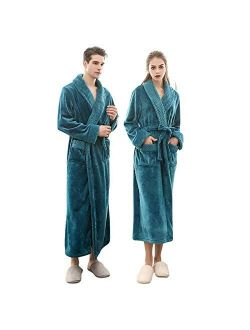 JBDGNZ Winter Men/Women Long Flannel Warm Bathrobe Thick Winter Kimono Bathrobe with Pocket Solid Color Dressing Gown Robes,White,Women,Size M