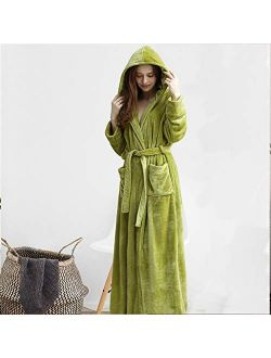 TSSM Couple Pajamas Ladies Dressing Gown, Hooded Bathrobe Nightdress, Warm Soft & Cosy Flannel Nightgown for Men Women, Whitefemale,XL
