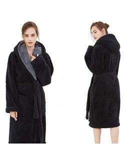 JSJYP Couple Hooded Dressing Gown,Flannel Plus Size Medium Long Robes Hotel Couple Pajamas Adult Bathrobes (Color : Navy Blue, Size : M(70-80 kg))