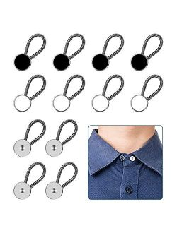 12pcs, Collar Extenders, Comfy & Premium Invisible Neck Extender, Adds 1 in Instantly, Button Extenders for Mens Dress Shirts Suits Trouser, Coat, Shirts (Black, White, S