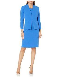 Le Suit Women's Open Stretch Crepe Jacket and Sheath Dress Suit