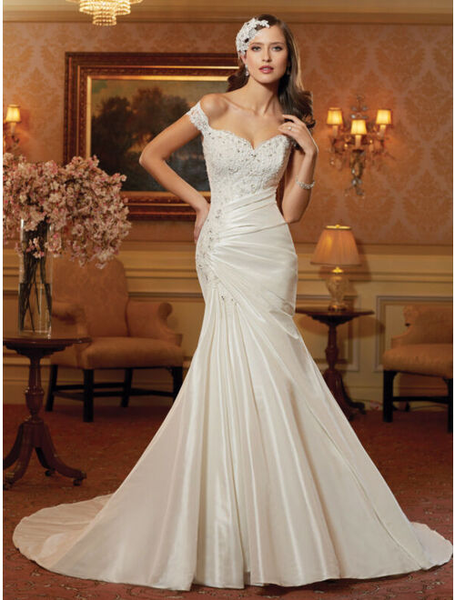 Mermaid Wide Boat Neck Satin Lace Wedding Dress Off The Shoulders Floor-Length