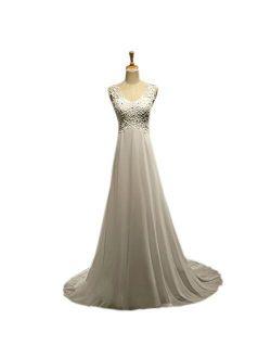 Rudina Women's A-Line V Neck Chiffon Beaded Lace Custom Wedding Dresses with Appliques Button Design