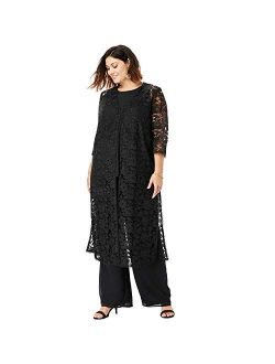 Roamans Women's Plus Size Three-Piece Lace Duster & Pant Set Duster, Tank, Formal Evening Wide Leg Trousers