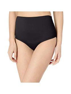 Women's High Waist To Fold Over Shirred Bikini Bottom Swimsuit