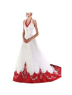 Chady White and Red Wedding Dress for Bride 2021 Halter Neck Embroidery A-line Floor Length Bridal Gown