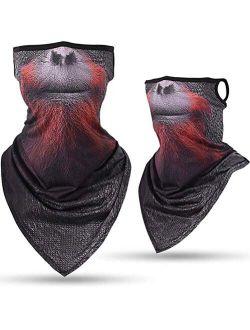 3D Animal Face Bandana Neck Gaiter Mask with Ear Loops - Men Women Halloween Costume Cover