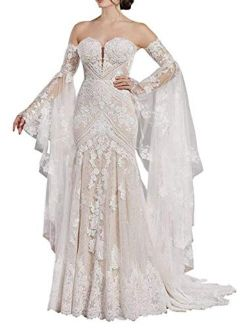 Plus Size Sweetheart Lace Wedding Dresses for Bride with Long Sleeves Boho Off Shoulder Bridal Ball Gown