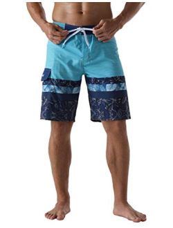 Nonwe Men's Swim Trunks Quick Dry Elastic Waist Board Shorts with Lining