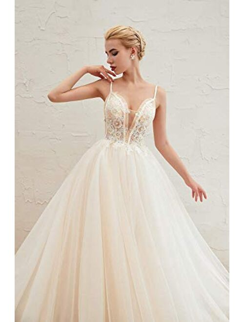 Datangep Women's Spaghetti Straps Backless A-line Chiffon Beach Wedding Dress