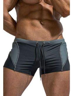 MIZOK Mens Quick Dry Swim Trunks Boxer Brief Swimsuit Tight Shorts Swimwear with Adjustable Drawstring