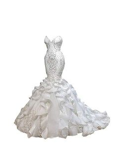 Sleeveless Sweetheart Women's Bridal Ball Gown Mermaid Lace Wedding Dresses With Ruffles Train For Bride