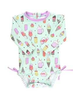 Baby/toddler Girls Upf 50+ Sun Protection Long Sleeve One Piece Swimsuit With Zipper
