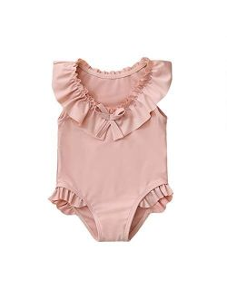 nilikastta Girls One Piece Swimwear 1-5Y Toddler Girls Swimsuit Cute Ruffled Bowknot Striped Bathing Suits