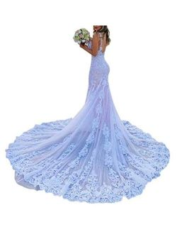 Women's Spaghetti Strap Bridal Ball Gowns Train Long Lace Mermaid Wedding Dresses for Bride 2021