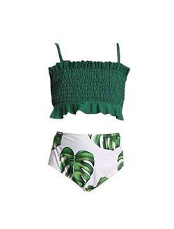 Giulot Toddler Kids Girls Two Piece Swimsuit Ruffles Bikini Set Swimwear Beach Sport Halter Top Diving Surfing Clothes
