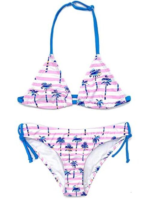 SHEKINI Girls Swimwear Halter Triangle Bikini Leopard Print Two Piece Swimsuits