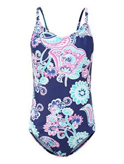 Girls One Piece Swimsuits Striped Rainbow Bathing Suit Swimwear