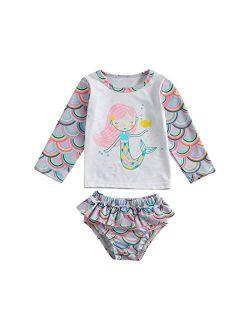 Toddler Girls Mermaid Sequined Swimsuit,Strap Tank Vest+Fish Scale Net Bottoms Shorts 2 Pcs Sun-wear Bikini Bathing Suit